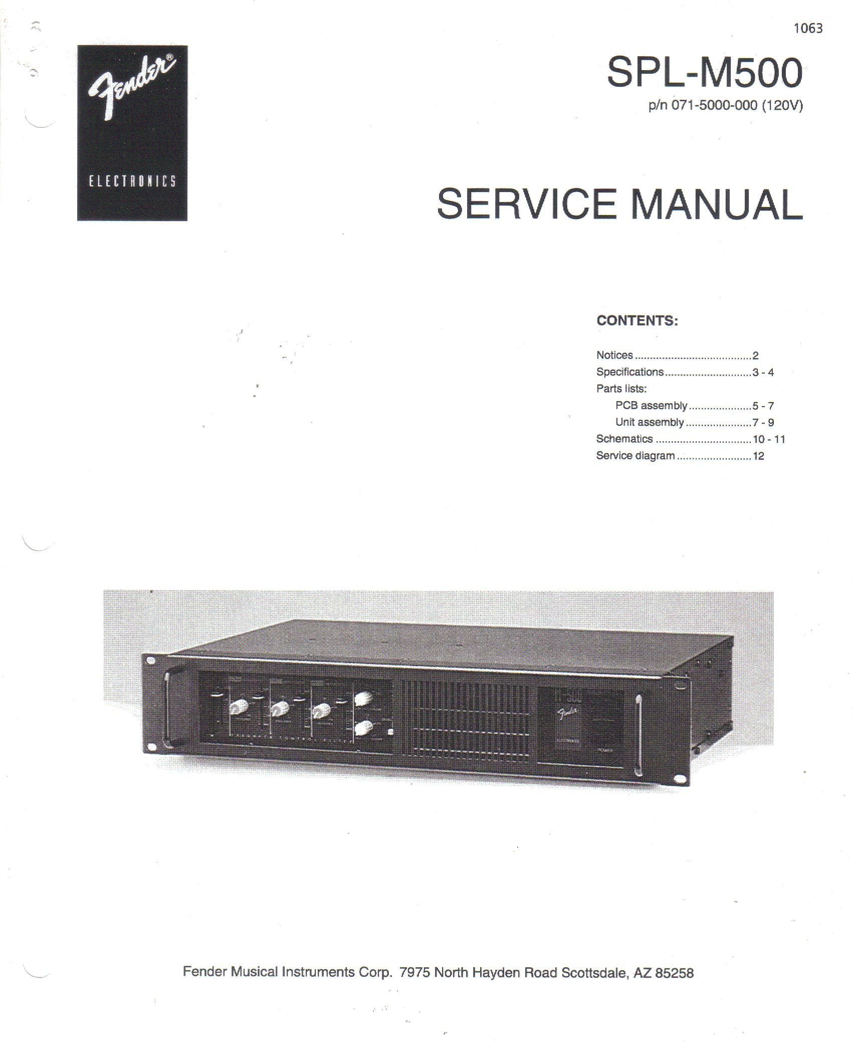fender spl m500 stage monitor power amplifier service repair manual rh amazon com Fender Sound System Fender Passport 300 Pro Portable PA System
