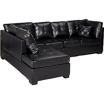 Amazon Com Contemporary Black Leather Sectional Sofa Left