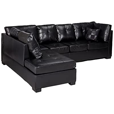 contemporary black leather sectional sofa left side chaise by coaster kitchen dining. Black Bedroom Furniture Sets. Home Design Ideas