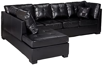 Merveilleux Contemporary Black Leather Sectional Sofa Left Side Chaise By Coaster