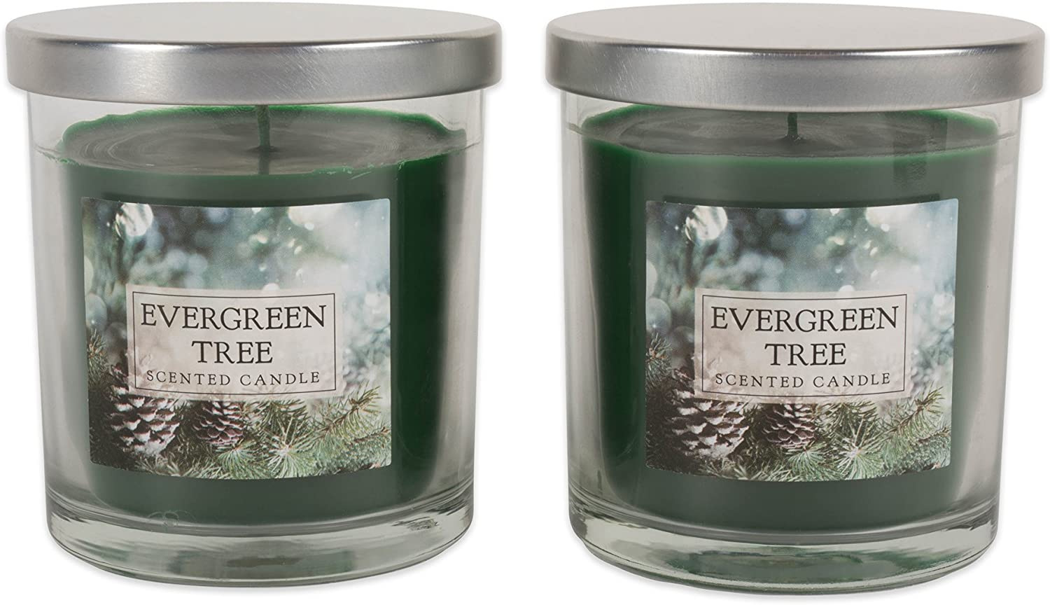 Home Traditions Single Wick Evenly Burning Highly Scented Jar Candle, Set of 2 (8 Oz Each) - Evergreen
