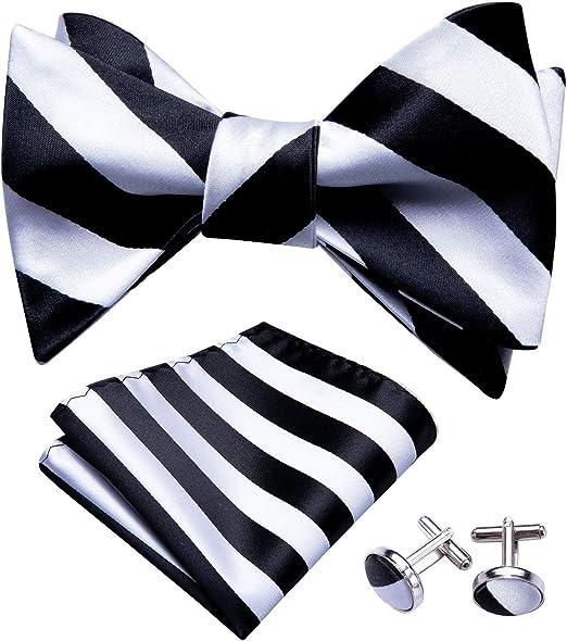 Barry.Wang Bowtie Silk Tie Mens Pocket Square Cufflinks Set Wedding Necktie Formal