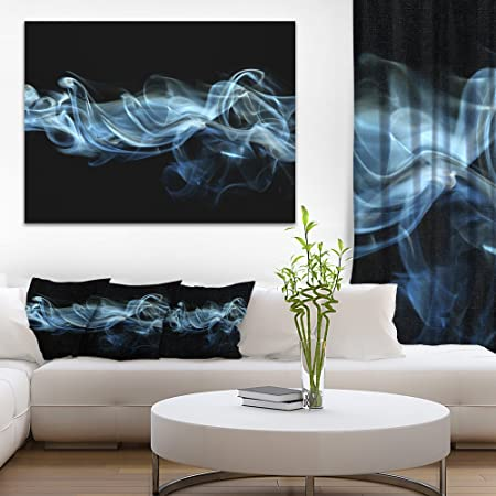Blue Smoke in Black Abstract Canvas art print