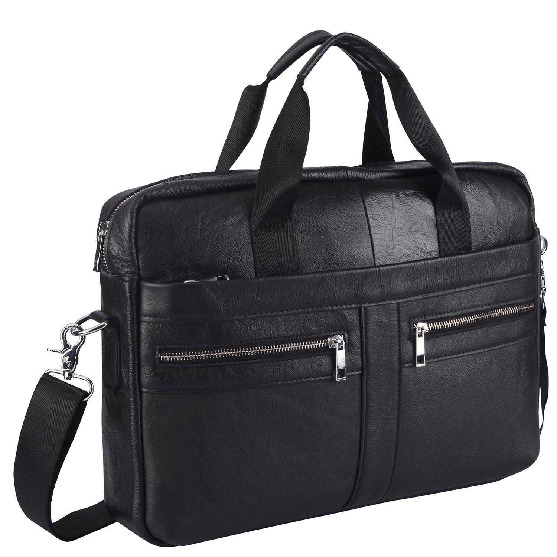 Mens Vintage Genuine Leather Handmade Laptop Briefcase Work Bag Messenger Shoulder Bag Crossbody Handbag for Business Travelling (BFZ-BLACK)