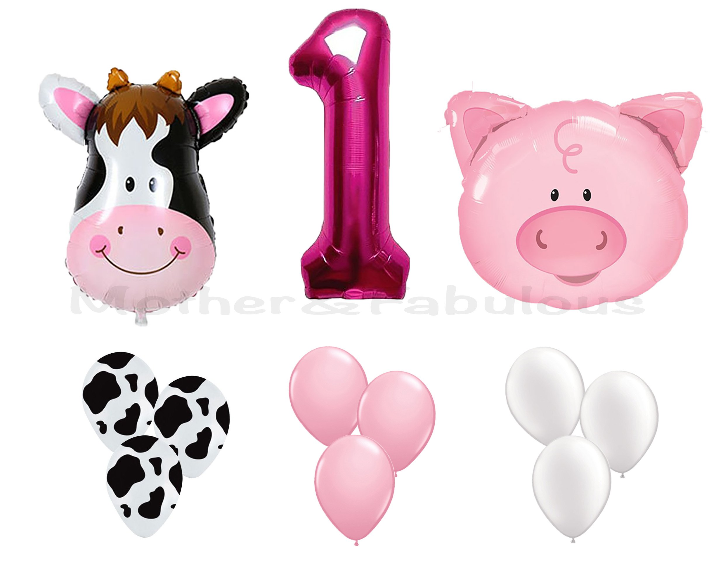 First Birthday Farm Animal Theme Balloons For Baby Girl Party Decoration. 36'' Cow & Pig With 12'' Helium Quality Latex Balloons White, Pink And Cow Print Balloons with the number ''1'' Pink foil balloon