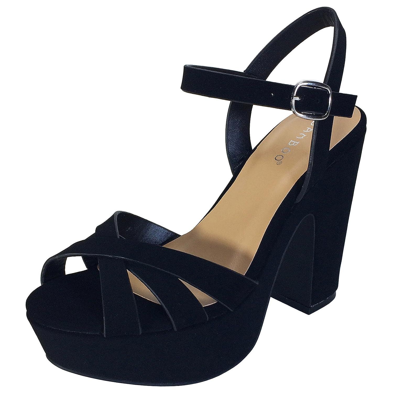 Bamboo Women's Simple Platform Chunky Heel Sandal B071XT17PN 6 B(M) US|Black Nubuck Pu