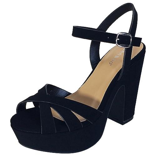466349546f5 BAMBOO Women's Simple Platform Chunky Heel Sandal
