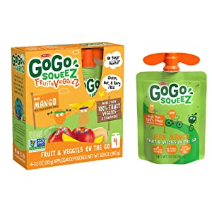 GoGo squeeZ fruit & veggieZ, Apple Mango Butternut Squash, 3.2 Ounce (48 Pouches), Gluten Free, Vegan Friendly, Unsweetened, Recloseable, BPA Free Pouches