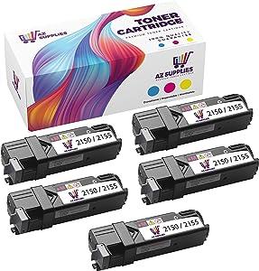 AZ Supplies Compatible Toner Cartridge Replacement for Dell 2150 2155 2FV35 331-0712/0719 JPCV5 MY5TJ N51XP Color Laser 2150-2150CDN-2150CN-2155-2155CDN-2155CN Multifunction 2155CDN Black 5 Packs