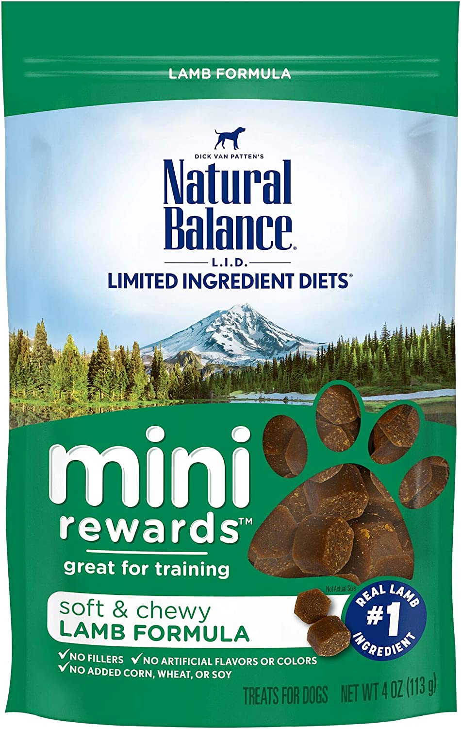 Natural Balance L.I.D. Limited Ingredient Diets Mini Rewards Dog Treats, Soft & Chewy Lamb Formula, 4 Ounce Pouch