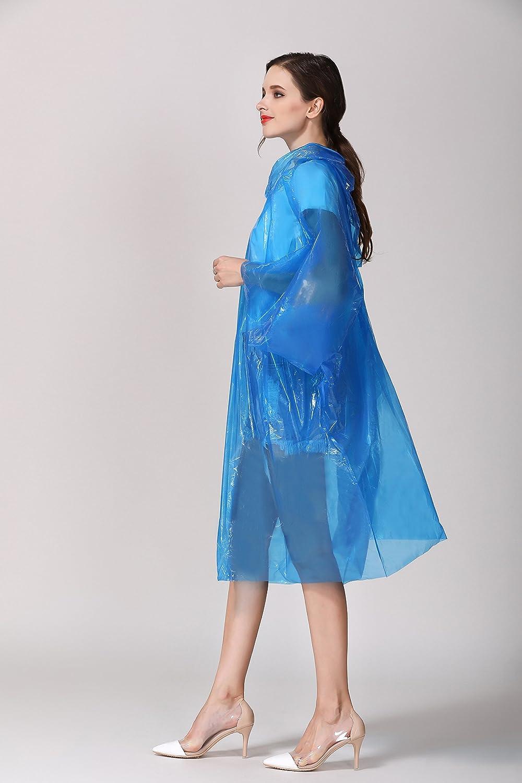 Kamandi Rain Ponchos Emergency Poncho Portable Raincoat Rain Jacket Resuable for Family Women Men Kid Super Waterproof for Rainy Outdoor with Hood and Sleeves