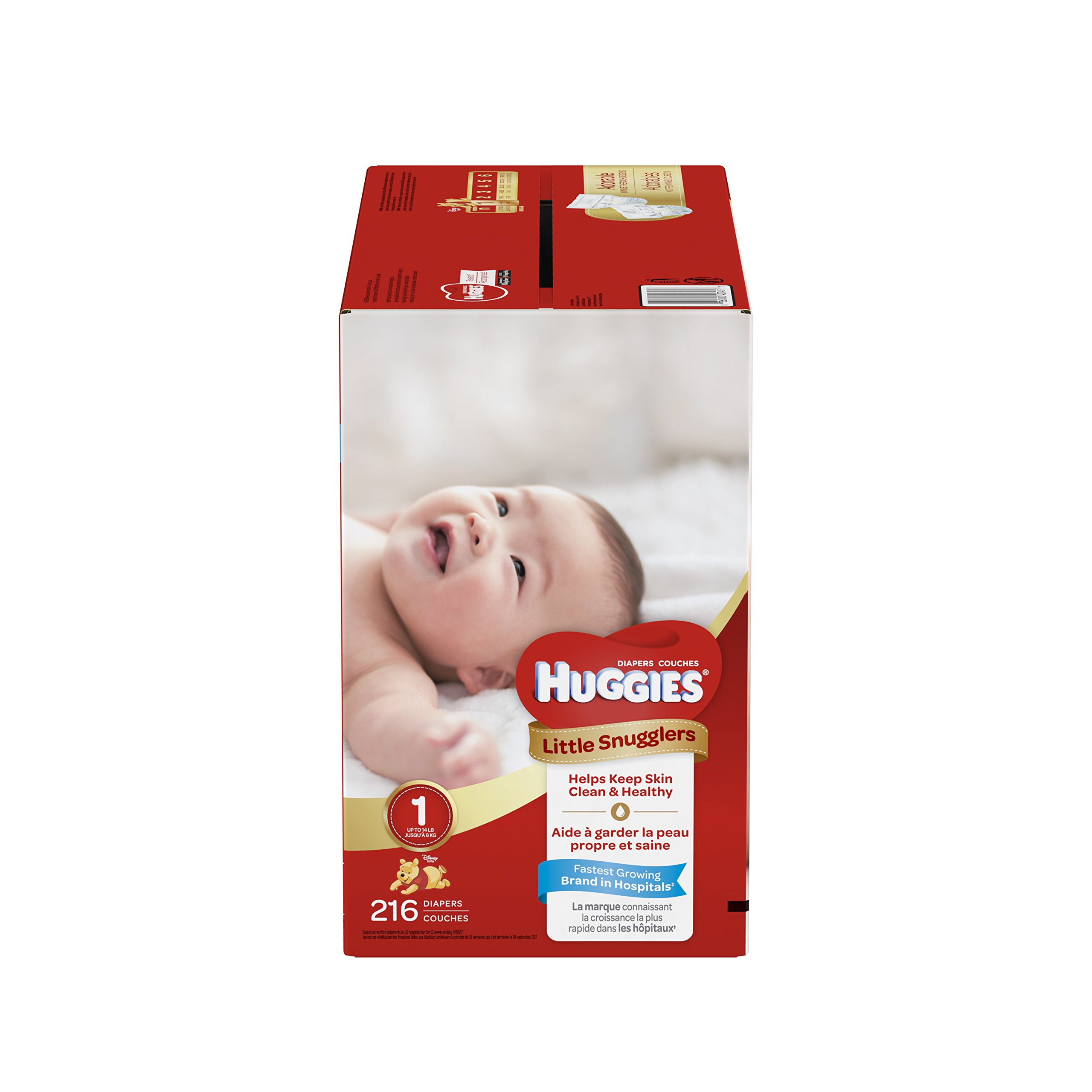HUGGIES Little Snugglers Baby Diapers, Size 1, for 8-14 lbs, One