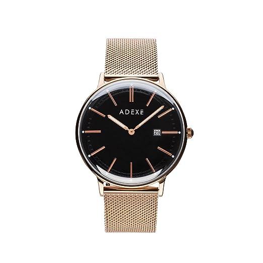 Reloj unisex vegano ADEXE, oro rosa y negro, de acero inoxidable, con correas intercambiables: Amazon.es: Relojes