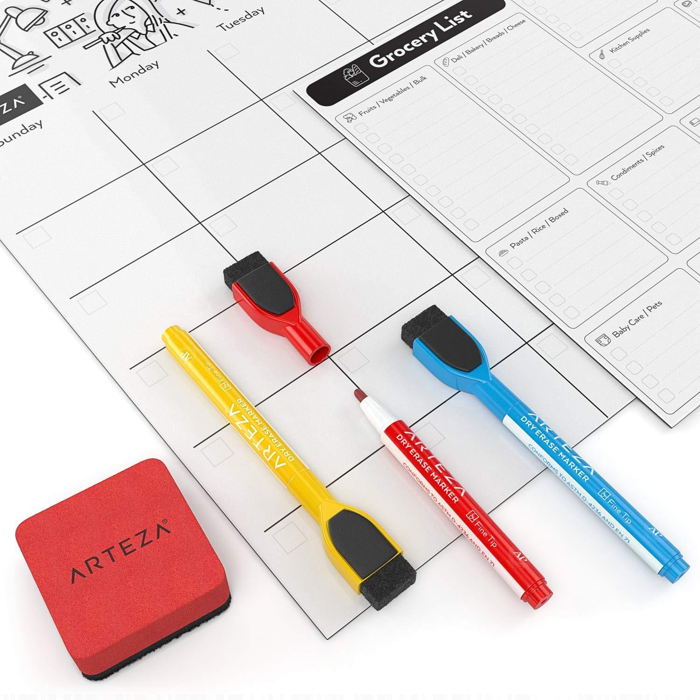 Arteza Set Calendario Settimanale Magnetico 43.4x31cm Cancellabile a Secco 30 Magneti Planner Nr 2 Cancellino con 12 Pennarelli per Lavagna Bianca Agenda da Frigo