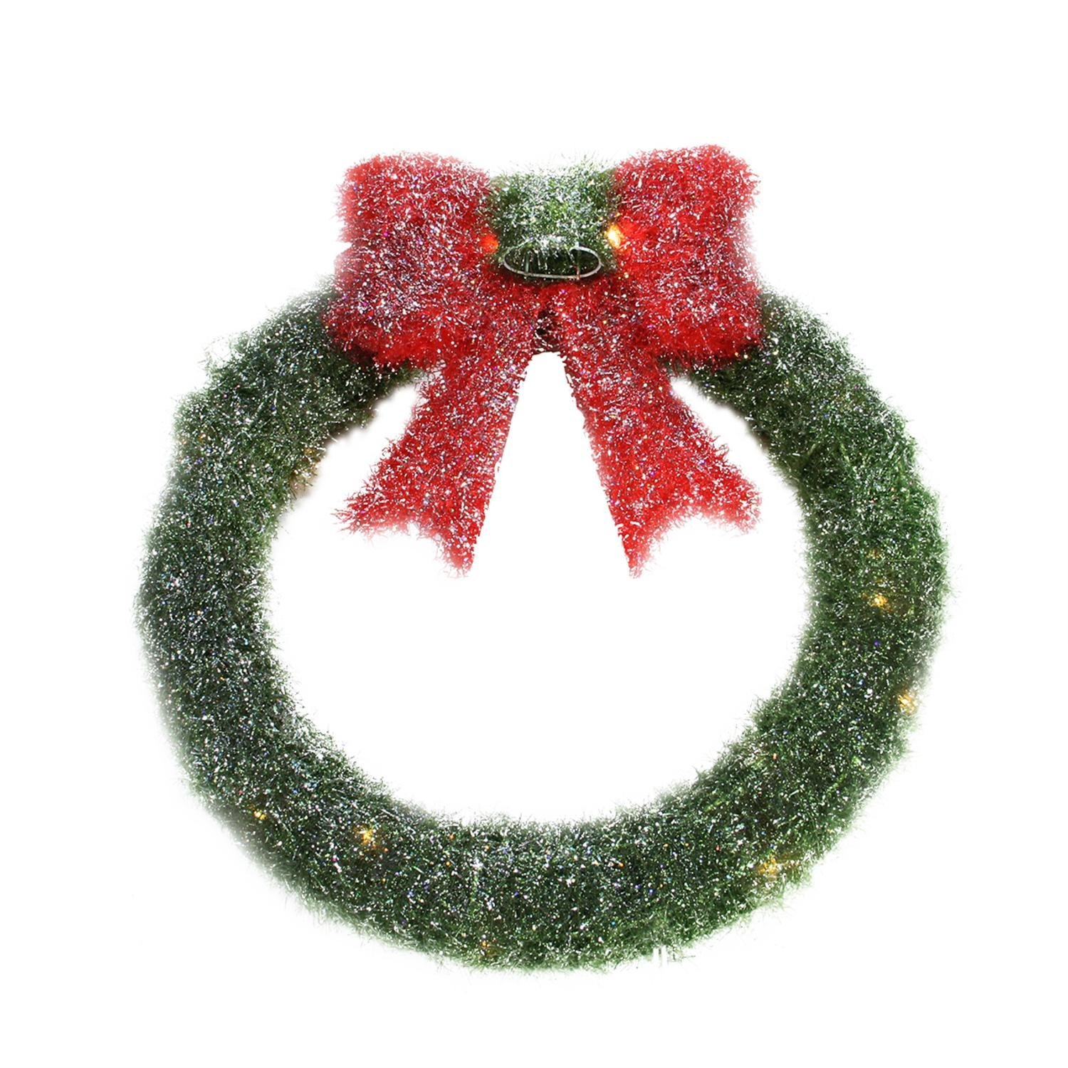 By Alger 16'' Lighted Tinsel Green Wreath with Bow Christmas Window Decoration