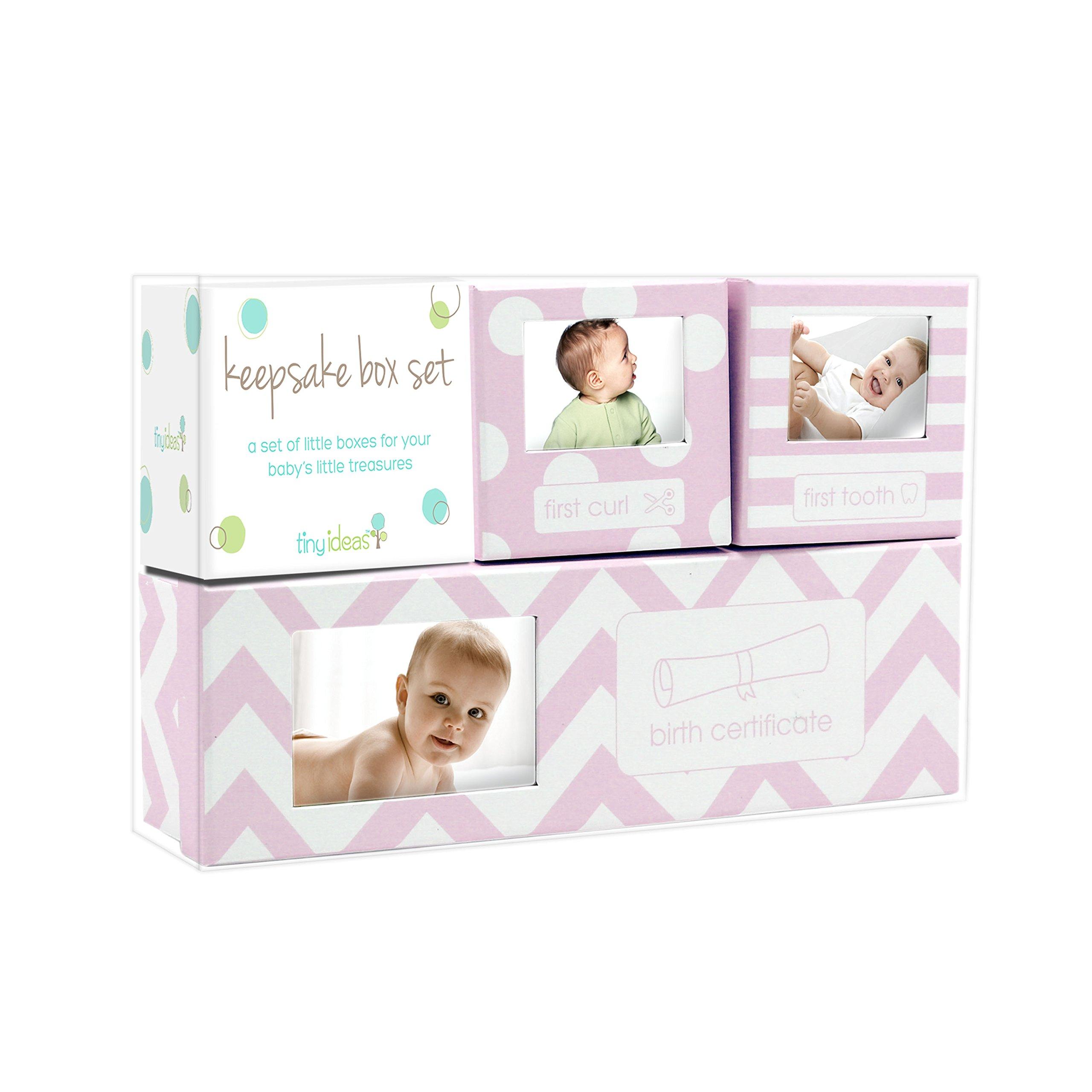 Tiny Ideas Chevron Baby Keepsake Boxes, Pink