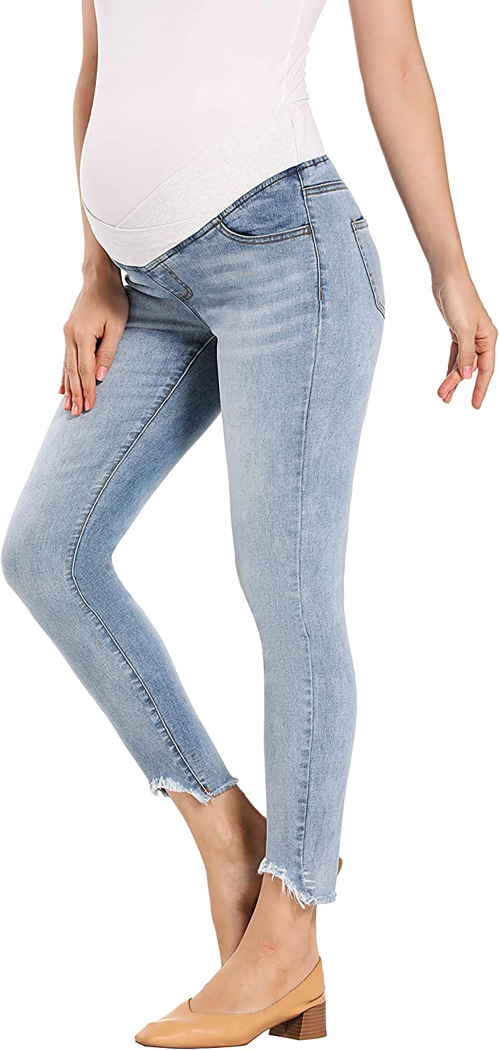 Capri Bermuda HOFISH Womens Maternity Skinny Jeans Shorts for Shirt Super Comfy Stretch Jeans