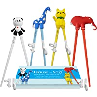 House of Stix Training Chopsticks for Kids Adults and Beginners - 4 Pairs Chopstick Set - Right or Left Handed
