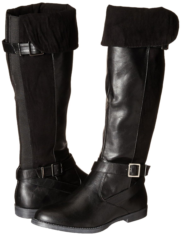 Romy II Suede Fold Over Double-Buckle Straps Low-Heel Women's Black Pirate Boots - DeluxeAdultCostumes.com