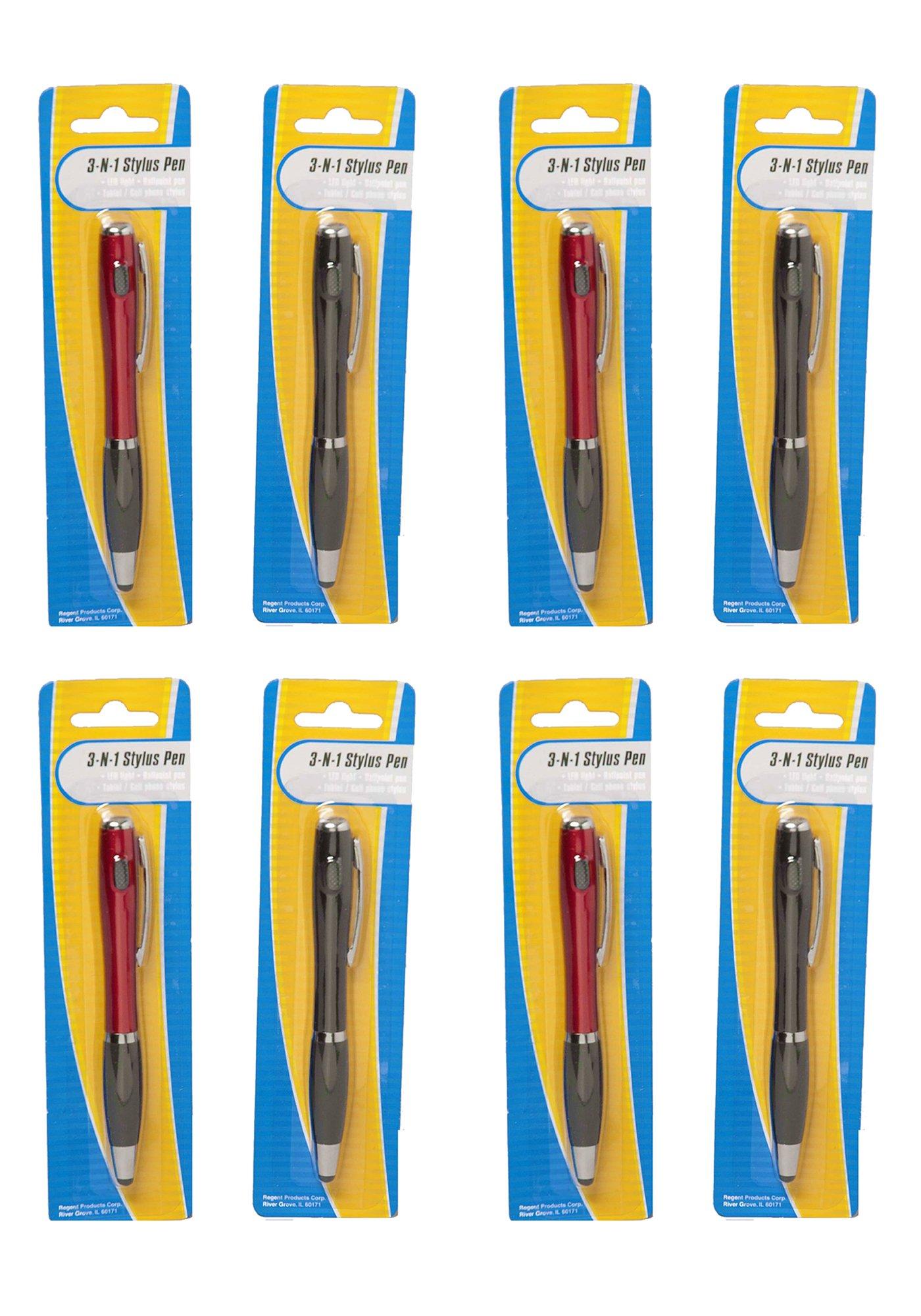 Set of 8 LED 3-n-1 Stylus Pen - LED Light, Ballpoint Pen, & Touch Screen Tablet Smart Phone Stylus (8 Pack)