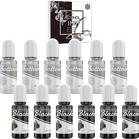 Blanco y Negro Alcohol Ink Set - 120ml Tinta Alcohol para Pintura de Resina Epoxi, Fabricación de Placas Petri Resina, Yupo - Tinte de Color de ...