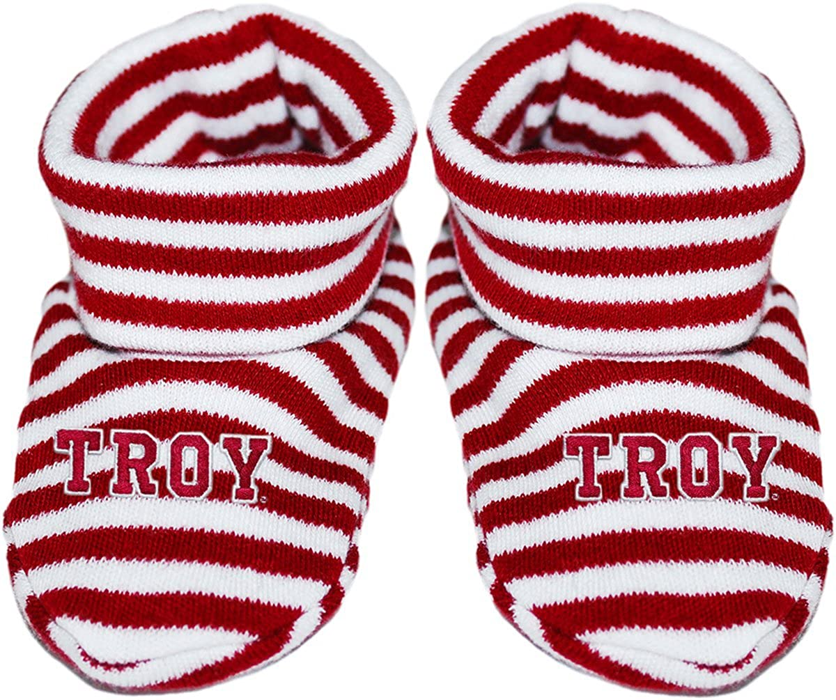 Troy University T-R-O-Y Newborn Baby Striped Bootie Sock
