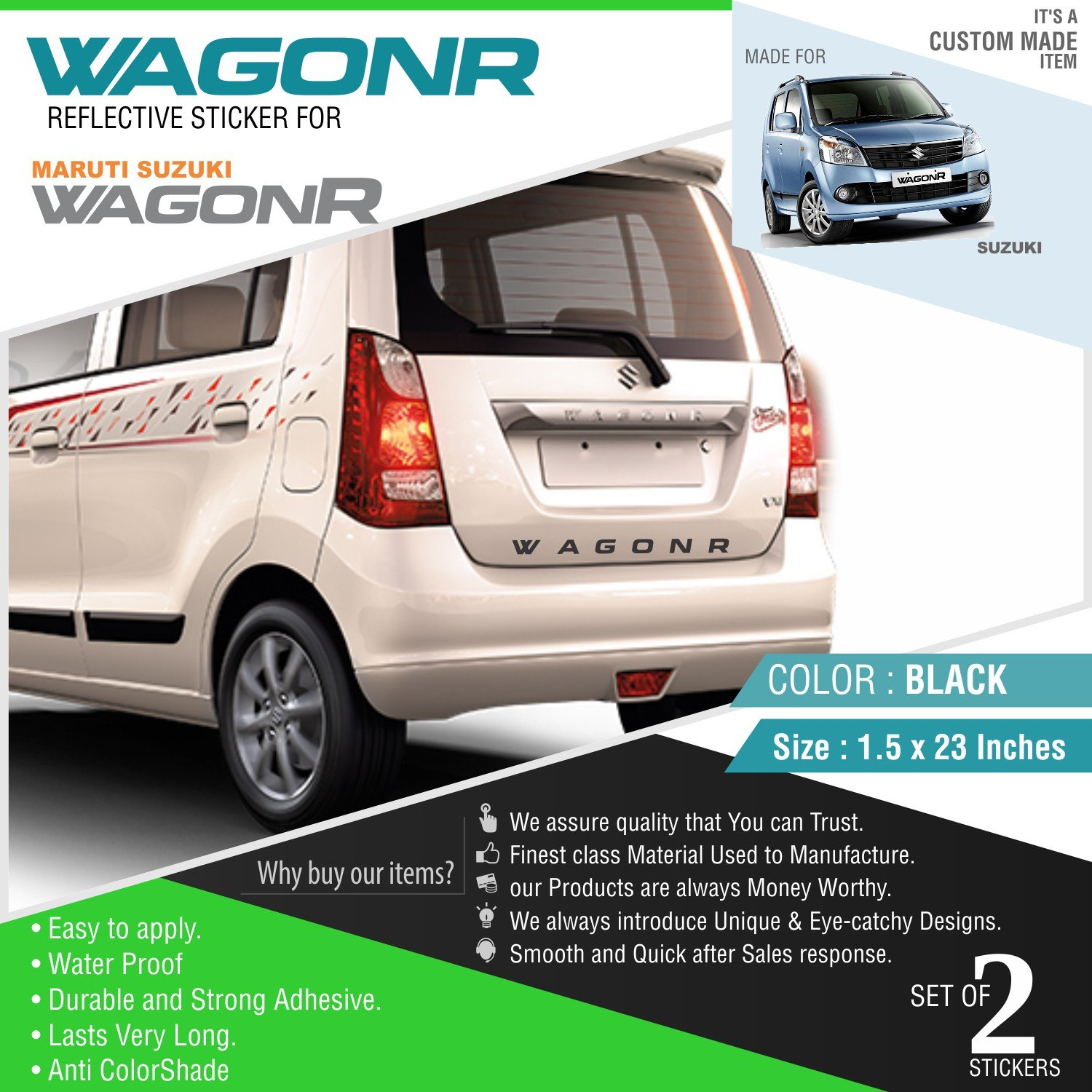 Carmetics wagonr reflective sticker for wagonr 2 black stickers for front and rear amazon in car motorbike