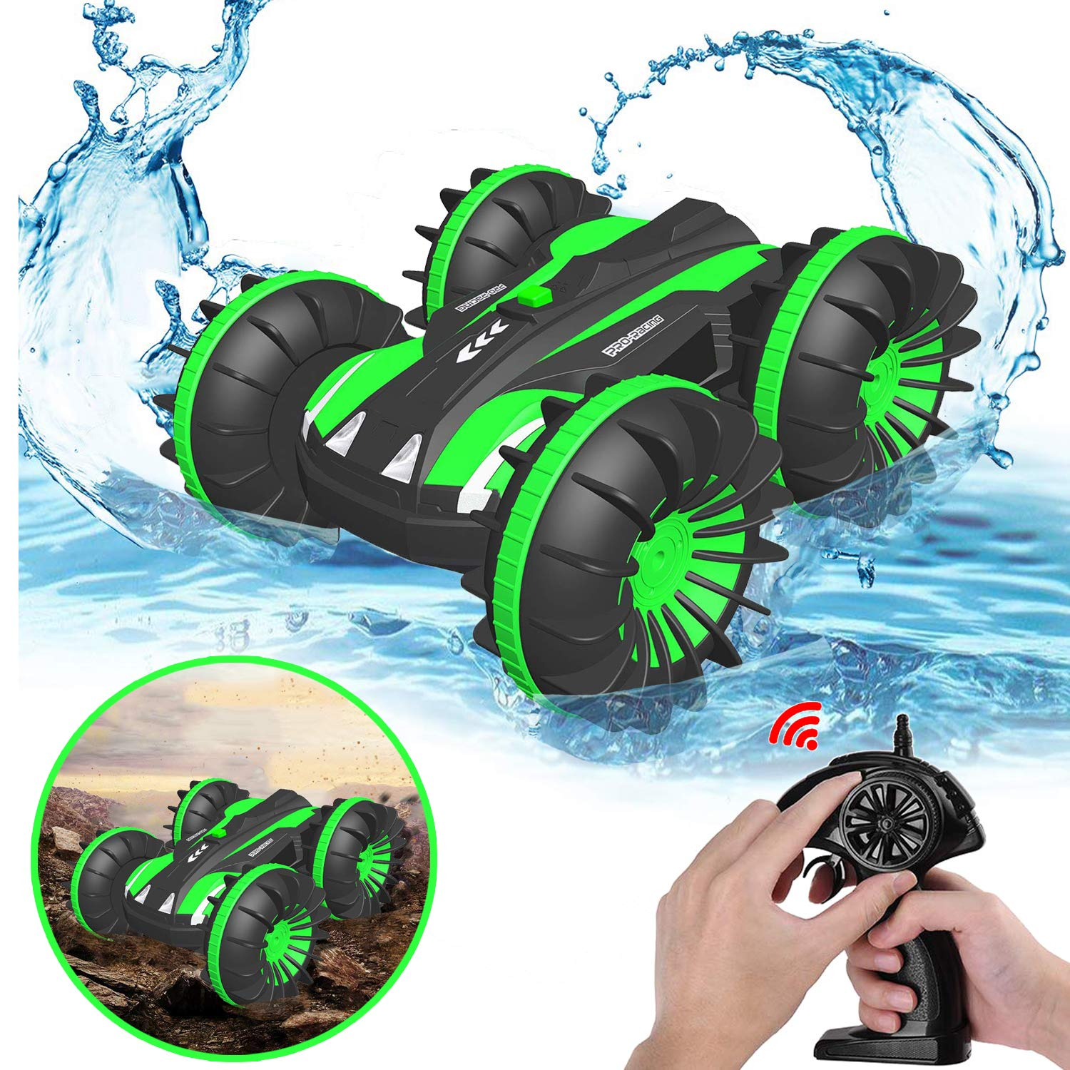 Pussan Gifts for 6-10 Year Old Boys Amphibious Remote Control Car for Kids 2.4 GHz RC Stunt Car for Boys Girls 4WD Off Road Monster Truck Gifts Remote Control Boat Summer Beach Toy Green