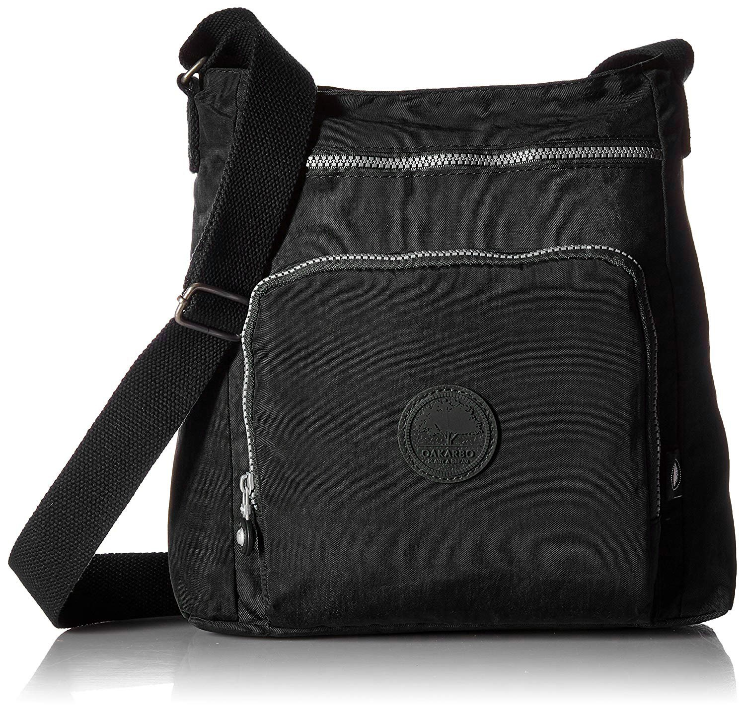 Oakarbo Nylon Crossbody Purse Multi-Pocket Travel Shoulder Bag (1301 Black)