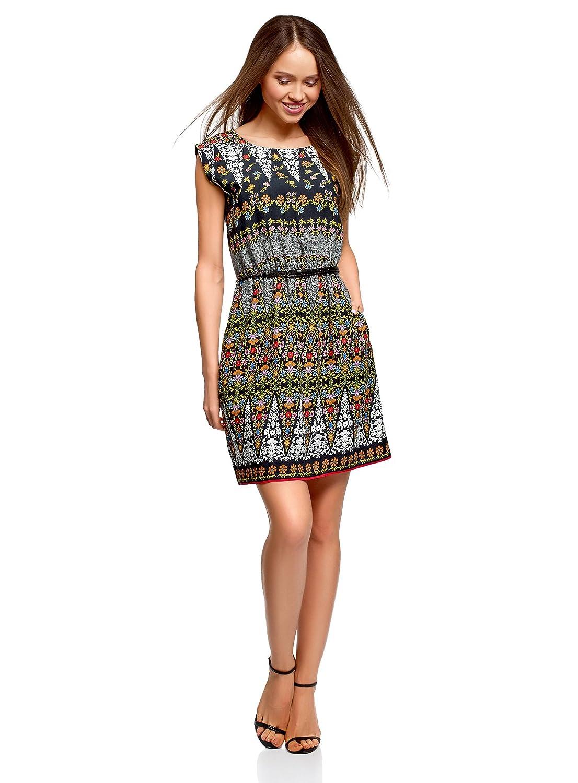 oodji Ultra Damen Ärmelloses Kleid aus Bedruckter Viskose