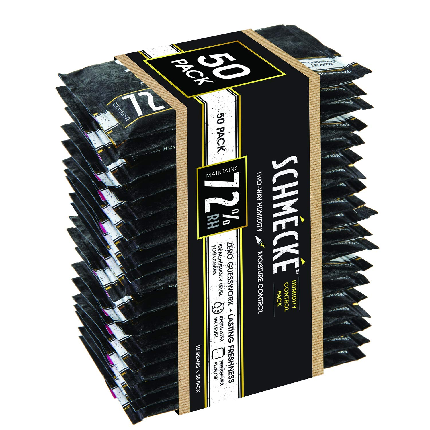Schmécké 72% RH Cigar Two-Way Humidity Control 10 Grams x 50 Pack - Zero Guesswork - Regulate & Stabilize Humidor RH Level