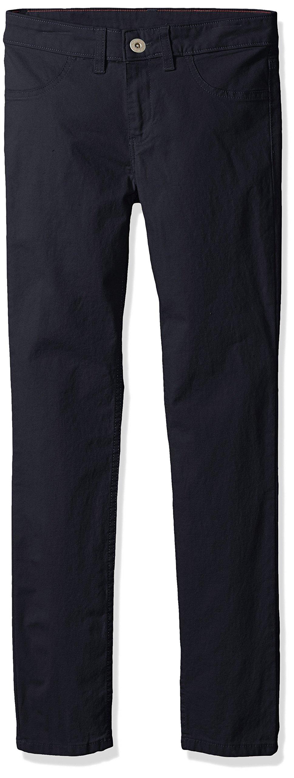 Dickies Big Girls' Super Skinny Stretch Pant, Rinsed Dark Navy, 14