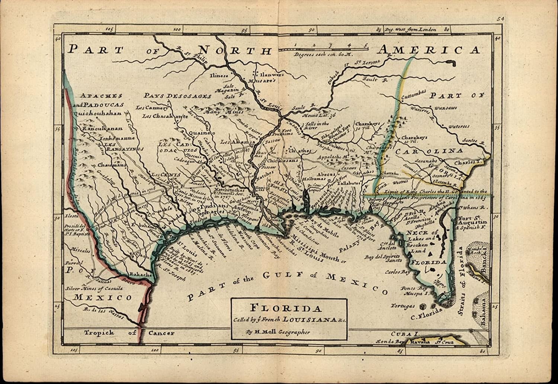 Map Of Texas Louisiana.Amazon Com Florida French Louisiana Forts Indian Tribes Silver