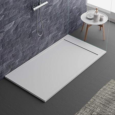 Prestige Receveur de douche en r/ésine de marbre anthracite 70x150 avec grille lat/érale