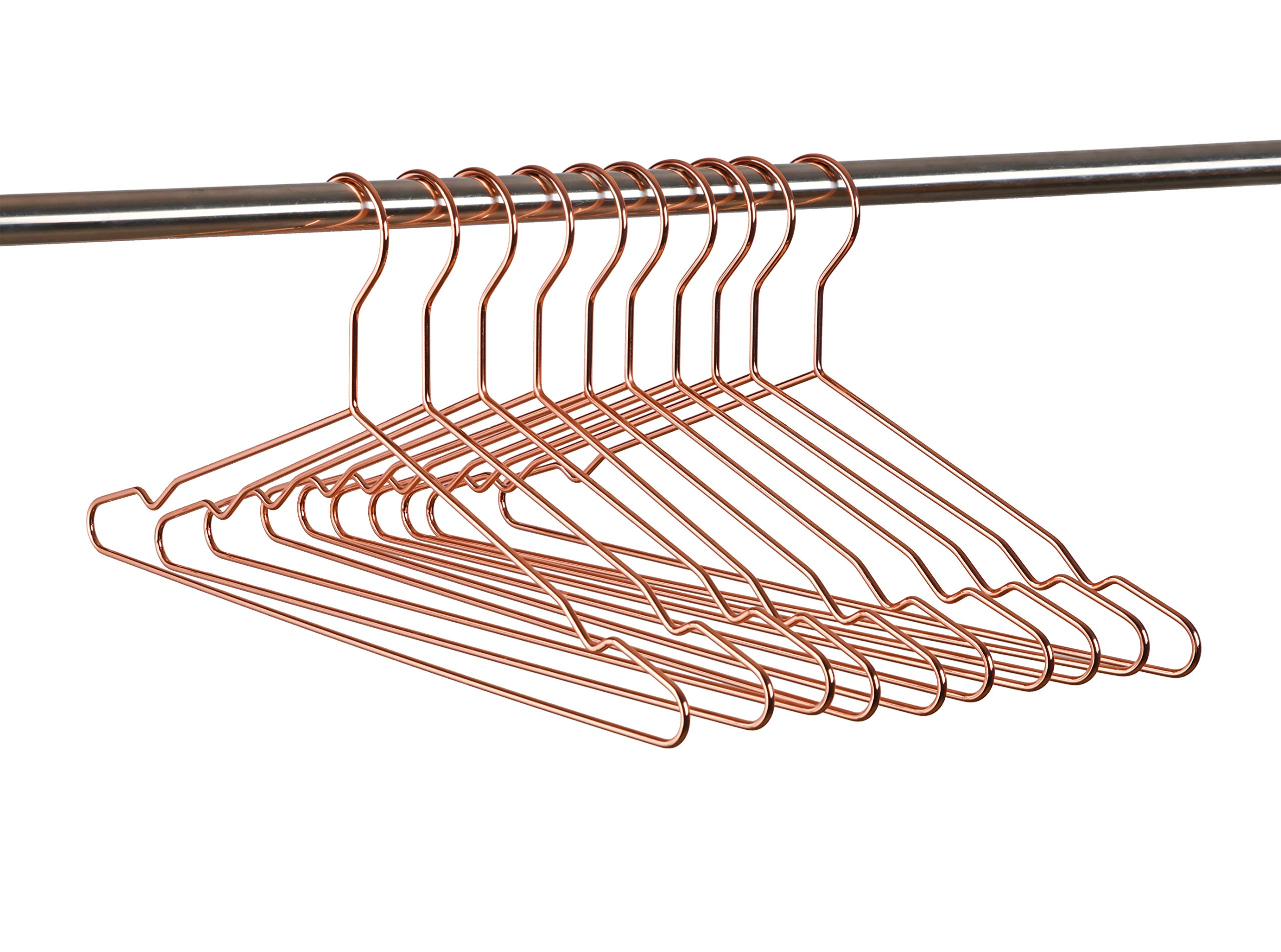 Amber Home Heavy Duty Durable Rose Copper Gold Shiny Metal Wire Clothes Hanger for Suit Coat with Notches 10 Pack