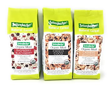 Seitenbacher Organic Musli Bundle of Three Flavors: 16 Ounce Choco Coco, 13.2 Ounce Raspberry