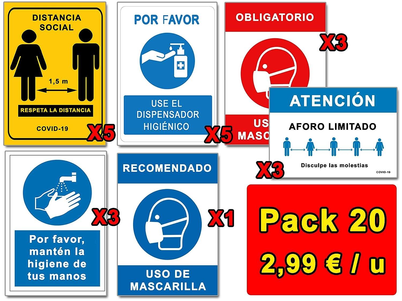 Señalización Coronavirus | Pack Ahorro 20 Señales COVID 19 | 5 Distancia, 4 Mascarilla, 5 Dispensador, 3 Higiene Manos, 3 Aforo | Carteles Autoinstalables | 21 x 30 cm | Descuentos Cantidad