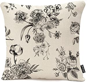 Throw Pillow Cover Vintage Floral with Victorian Bouquet of Black Flowers on Garden Roses Tulips Delphinium Petunia Cotton Linen Pillow Case Home Decor Square 16x16 Inches Pillowcase