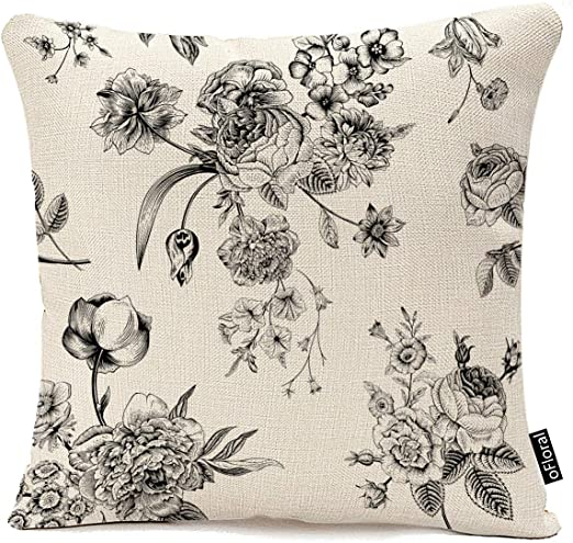 Amazon Com Throw Pillow Cover Vintage Floral With Victorian Bouquet Of Black Flowers On Garden Roses Tulips Delphinium Petunia Cotton Linen Pillow Case Home Decor Square 16x16 Inches Pillowcase Home Kitchen