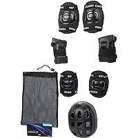 Ek Retail Shop Yonker 4 In 1 Skating Protective Kit (Knee Guard, Elbow Guard, Wrist Guard And Plastic Helmet) YS-1401 Black Color - Senior