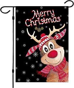 W&X Christmas Garden Flags,Christmas Flags Double-Sided Elk Christmas House Flags 12.5 x 18 Inch Double Thickness Burlap Outdoor Christmas Flags for Christmas Garden and Home Decoration