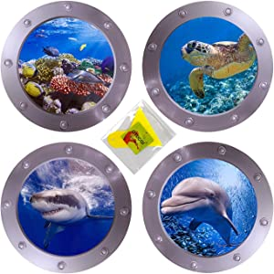 4 PCS Ocean World Wall Stickers & Plastic Spatula, 11 Inches Diameter Porthole 3D Sticker Sea Life Wall Decor