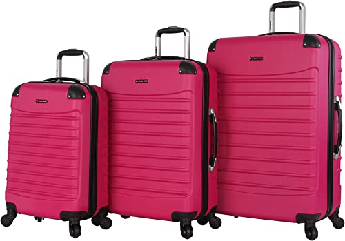 Ciao Voyager Luggage Collection – 3 Piece Hardside Lightweight Spinner Suitcase Set – Travel Set includes 20-Inch Carry On, 24 inch and 28-Inch Checked Suitcases Voyager Rose Pink