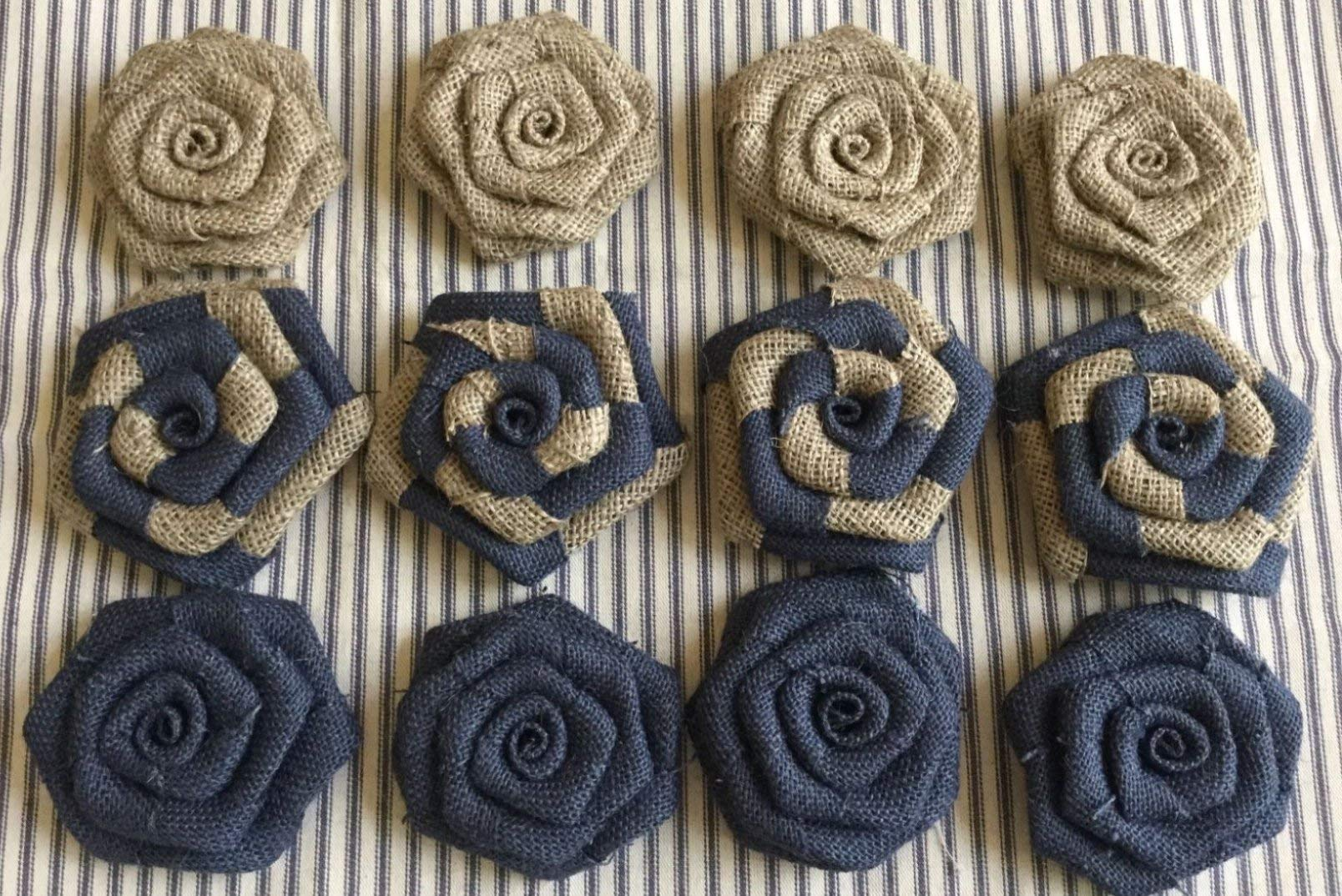 Set-of-12-Burlap-Flowers-Navy-and-Natural-Rustic-Wedding-Cake-Topper-Baby-Boy-Shower-Party-Reception-Table