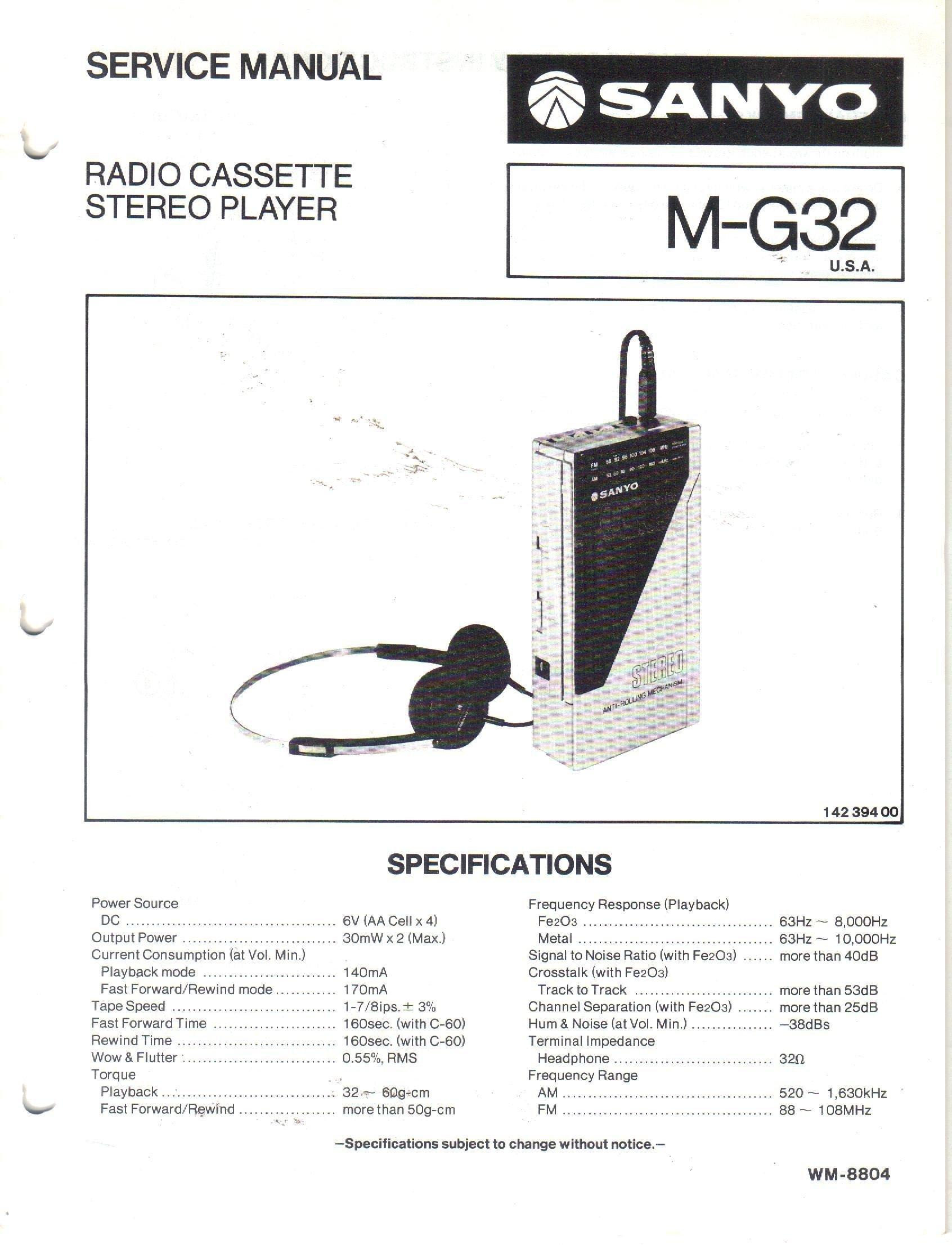 G32 Wiring Diagram Libraries 1999 Suzuki Esteem Belt Schematic Diagramssanyo M Radio Stereo Cassette Player Service Manual Sanyo Gmc Fuse
