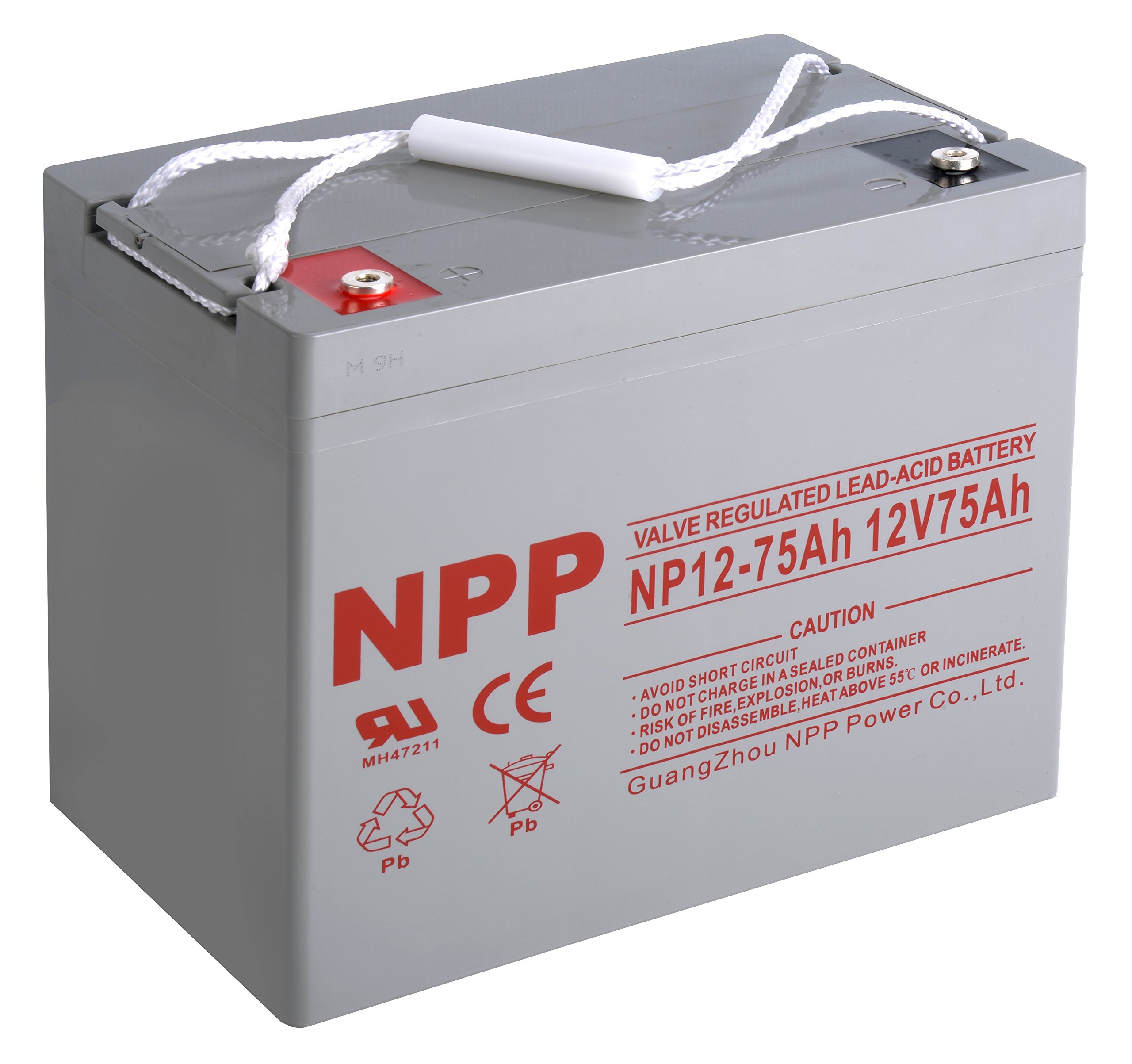 NPP 12V 75 Amp NP12 75Ah Rechargeable Sealed Lead Acid Battery With Button Style Terminals