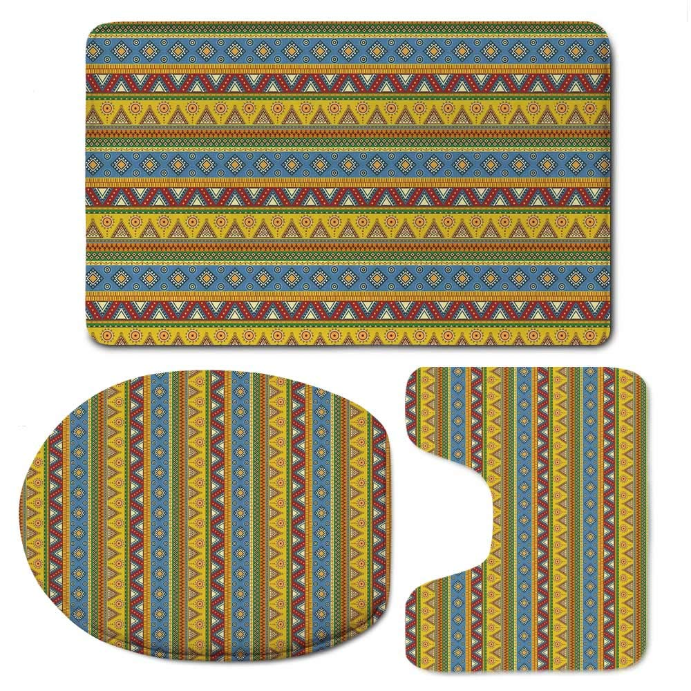YOLIYANA Mexican Simple Bathroom 3 Piece Mat Set,Traditional Native American Aztec Borders with Geometric Artistic Figures Vintage for Living Room,F:20'' W x31 H,O:14'' Wx18 H,U:20'' Wx16 H
