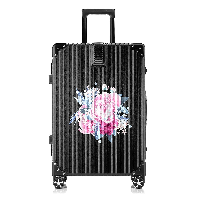 GSHCJ スーツケース 美しい花 ぼたん キャリーケース 20インチ おしゃれ ブラック Tsaロック搭載 プリント ハード 超軽量 軽い 機内持込 ロックファスナー 旅行 ビジネス 出張 海外 修学旅行 丈夫 便利 レディース メンズ 学生 B07RY9BT41