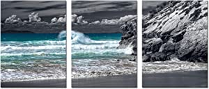 Kalormore Black White Teal Sea Canvas Wall Art Decor 3 Pieces Ocean Waves Coastal Style Picture Seascape Prints Framed and Stretched Artwork for Living Room Bedroom Bathroom