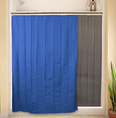 9734 Dual Shower Curtain Blue Fabric Outside With Clear Holographic Vinyl Inside As Liner